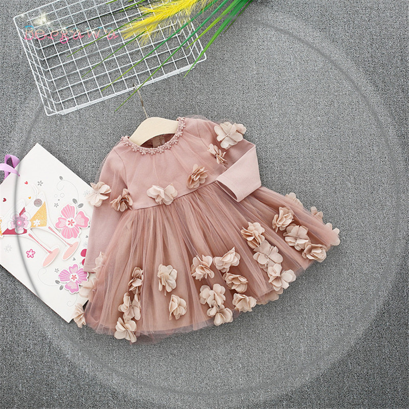 Spring Long Sleeve Mesh Patchwork Flowers Baby Wedding Party Girls Kids Princess Fairy Infants Ball Gown Dress Vestidos S6350 autumn girls children s kids baby long sleeve lace mesh tutu patchwork basic dresses princess wedding party dress vestidos s5691