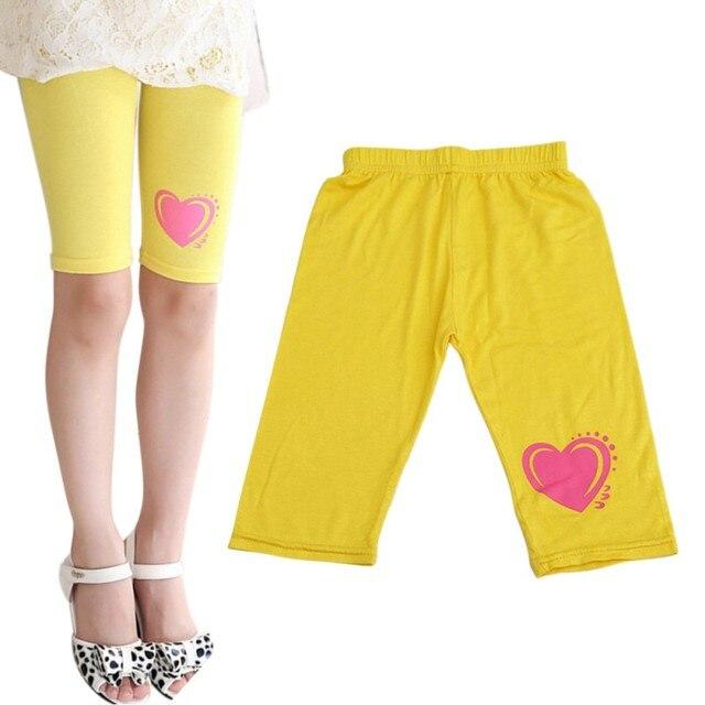 bb222481e1c12 Summer Lovely Baby Girls Modal Printing Heart Short Legins Girls Toddler  Little Kids Capris Leggings 2-8Y