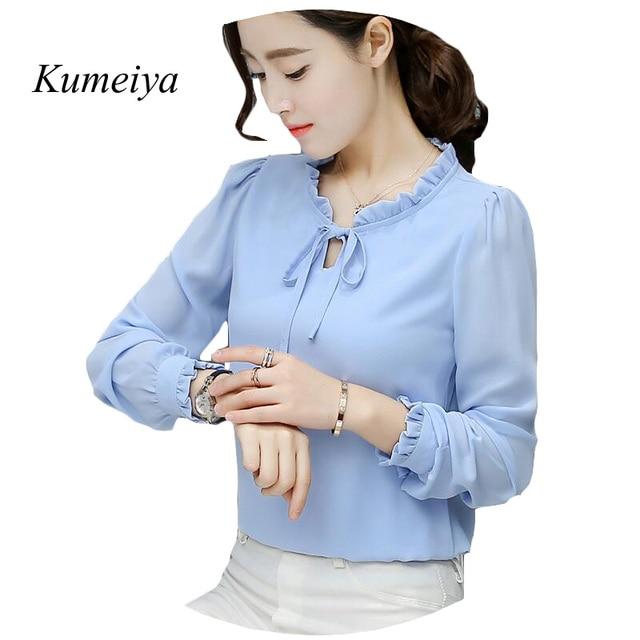 c5b019ab6 Mulheres outono Blusa Nova 2019 Moda Escritório Camisas Blusas Elegantes  Senhoras Blusa de Chiffon de Manga