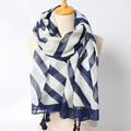2016 New Arrival Winter Fashion Women Brand Design Navy Blue Striped Geometry Long Size Scarf with Tassels Shawls