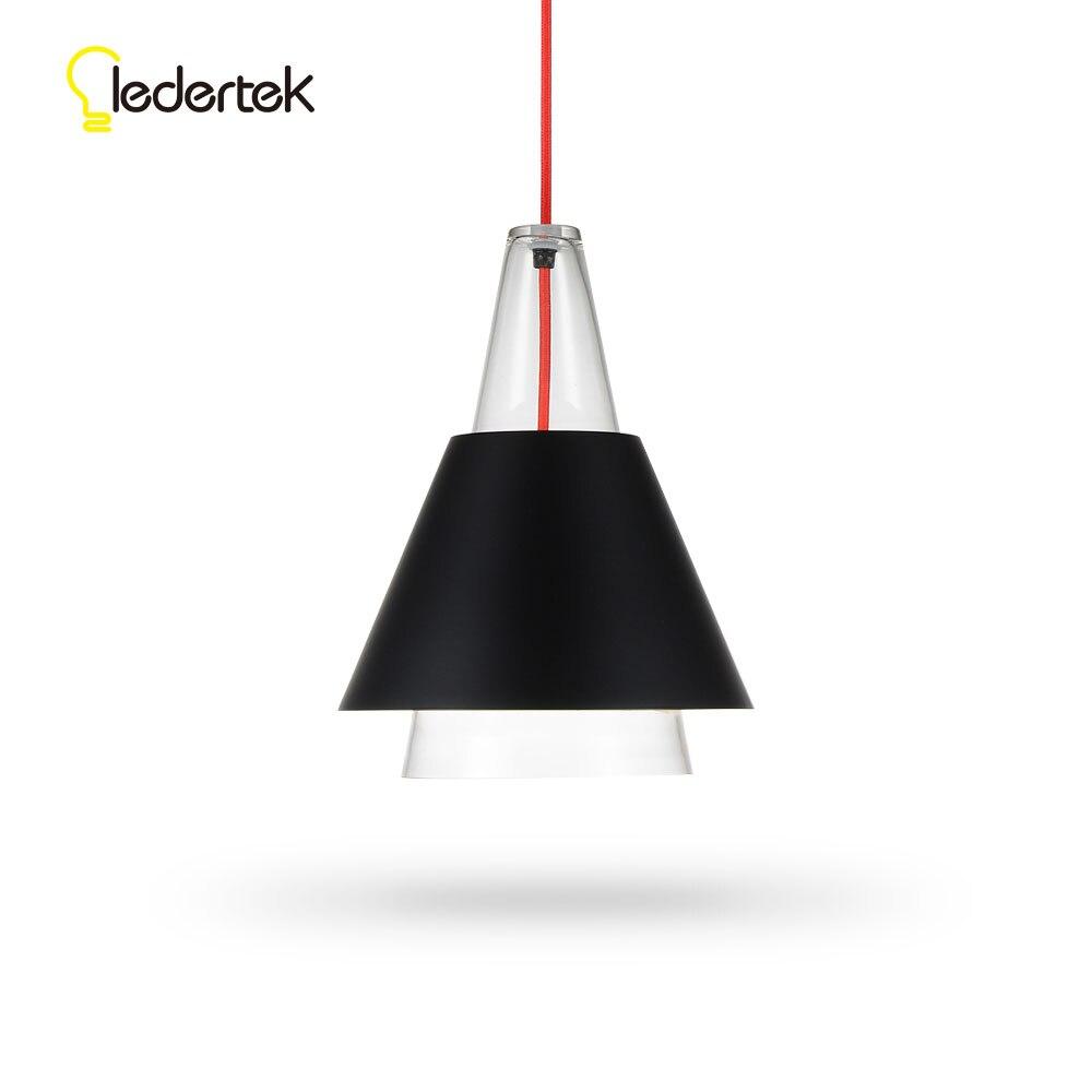 LEDERTEK Modern Glass Pendant Lights Lamparas Aluminum lamp shade Luminaire Dining Room Lights Pendant Lamp For Home Lighting