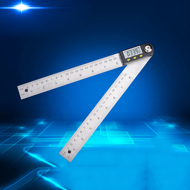 Digital Angle Ruler, Stainless Steel Electronic Angle Ruler, Protractor, Woodworking Angle Measuring Instrument, Multi-function