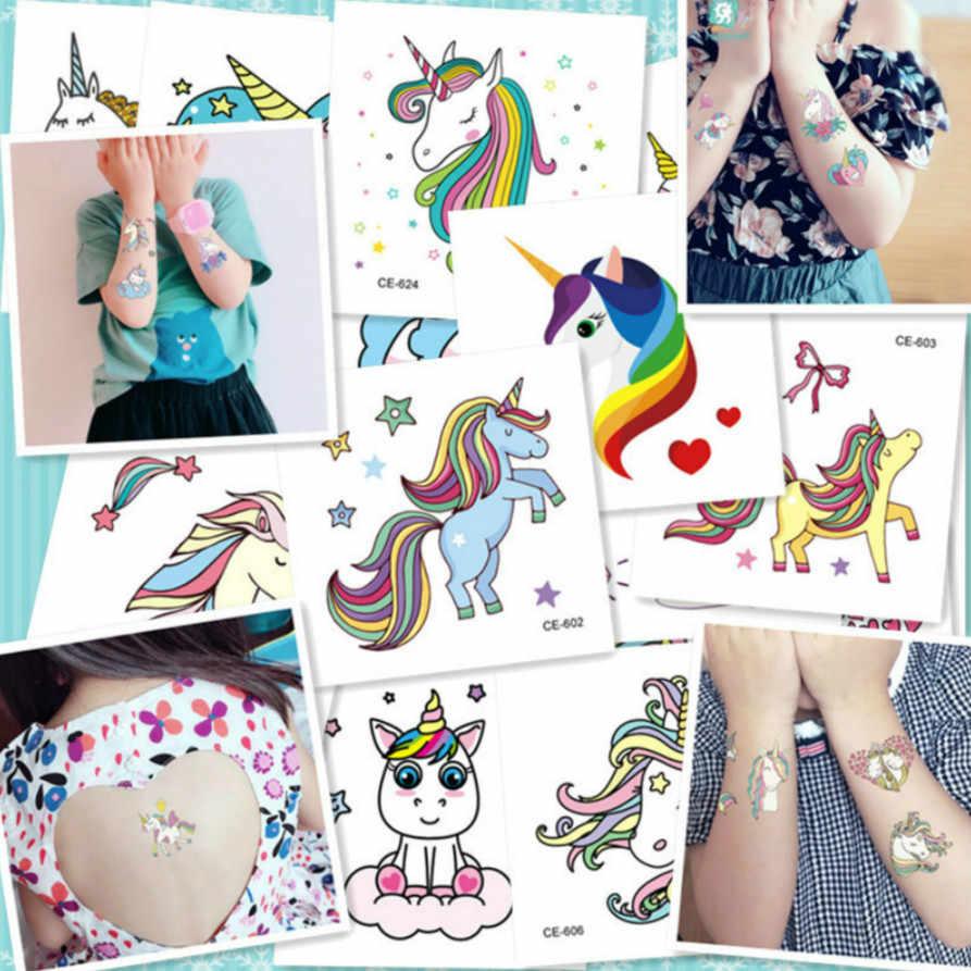 Colorido de dibujos animados feliz unicornio tatuaje temporal etiqueta engomada de mujer minimalista patrón de Arte de cuerpo diseño impermeable tatuajes temporales