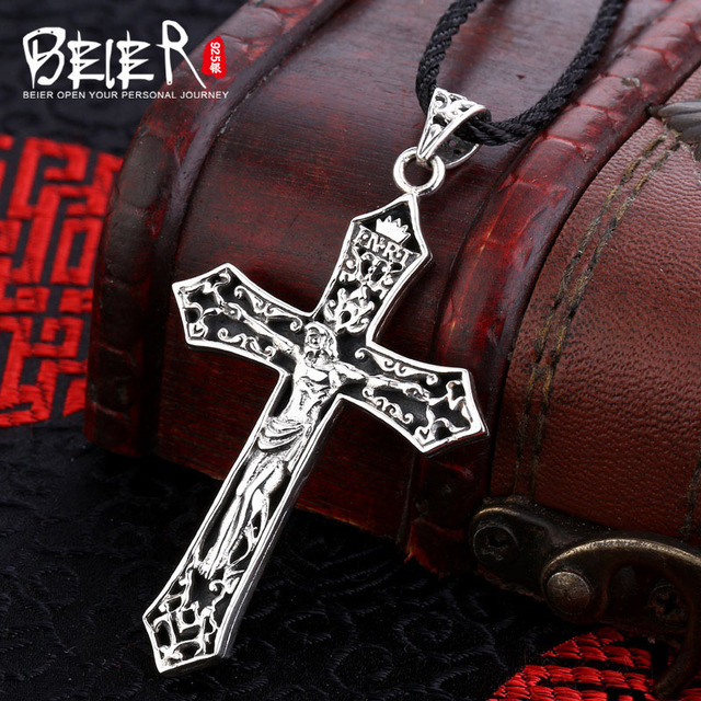 High polish figure pendant Free give rope Beier 925 silver sterling cross pendant necklace Zircon fashion jewelry  A1580