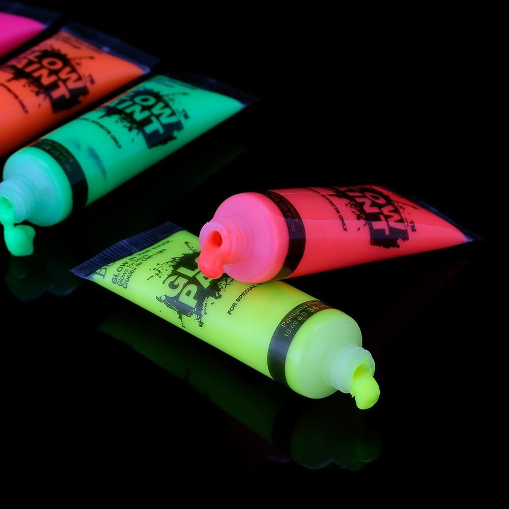 6 Colors Neon Fluorescent UV Body Paint 24pcs/Set Face Painting Luminous Acrylic Paints Art for Party Halloween Make Up