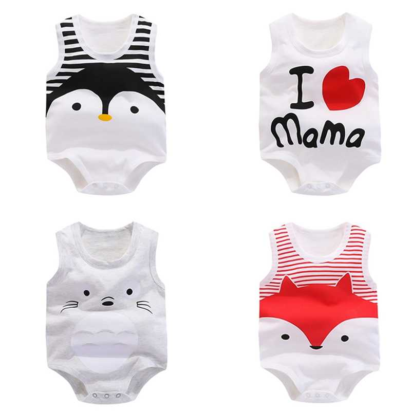 Новый летний комбинезон для маленьких мальчиков; комбинезон для ребенка дитя без рукавов с изображением животных; хлопковые детские комбинезоны; Одежда для новорожденных; одежда для детей