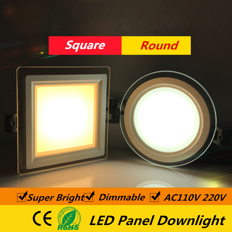 1pcs Dimmable LED Panel Downlight Super Bright Glass Square round Ceiling Recessed Panel Lights LED Spot Light Bulb AC110V 220V