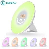 DC5V Digital Led Alarm Clock Radio FM RGB White Adjustable Color Changing Touch Display Circular Modern