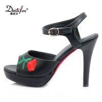Daitifen Ankle Strap Fancy Embroider Platform Sandals Classic Peep Toe Sandalia Feminina Sexy Super High Heel