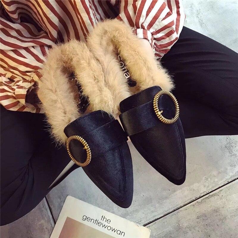 De Calzado on verde Otoño 2019 Beige Planos Mocasines E Damas Las Casual Cabeza Moda Invierno Mujeres Rebaño Noble negro Mujer Zapatos Slip dP1nZpx1