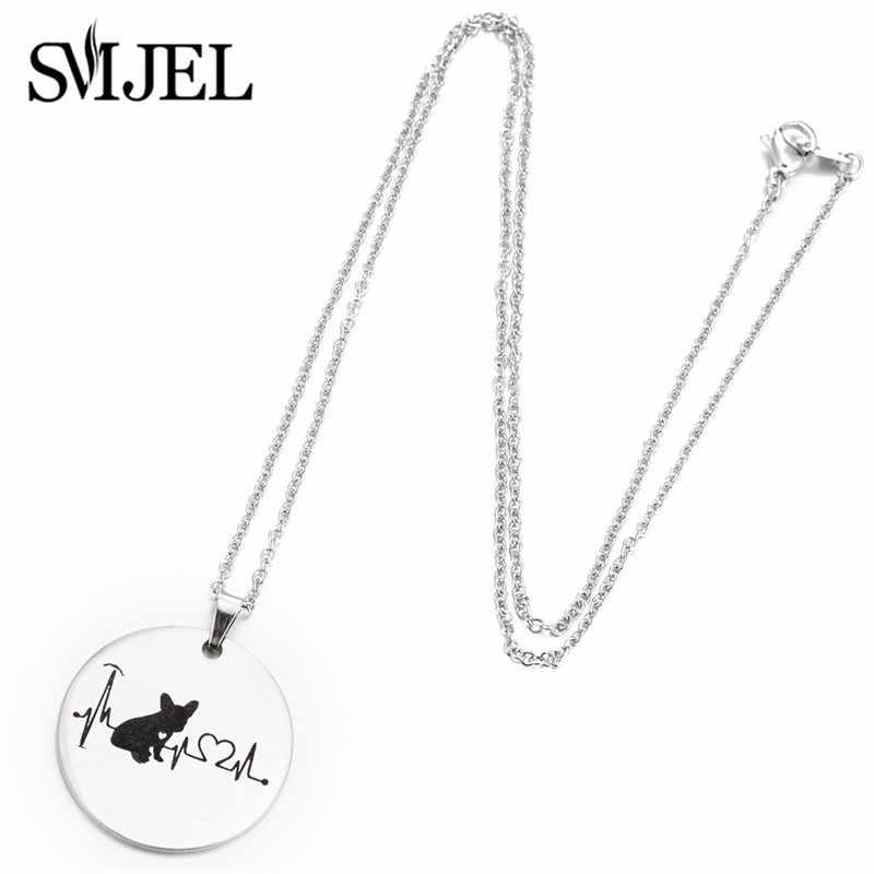SMJEL สัตว์ฝรั่งเศส Bulldog สร้อยคอสำหรับผู้หญิง Collier รอบ Charm สร้อยคอสุนัข Lover ของขวัญเครื่องประดับ bijoux 2019 ใหม่