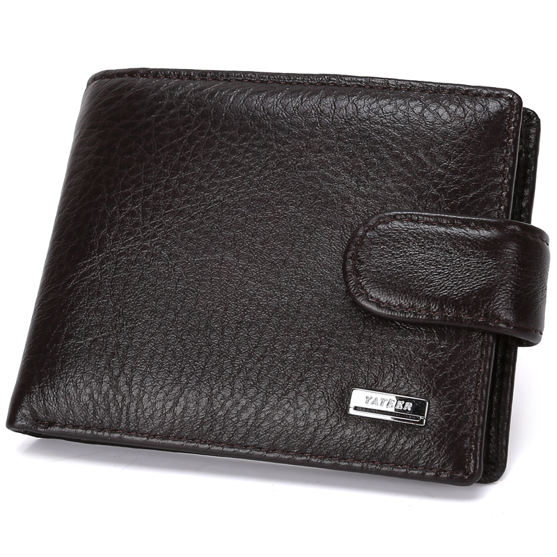 Luxury Genuine Leather Wallet Fashion Short Bifold Casual Men Wallet Zipper Buckle With Coin Pocket Card Clutch Male Wallet Men luxury 100% genuine leather wallet fashion short bifold men wallet casual soild men wallets with coin pocket purse male wallet