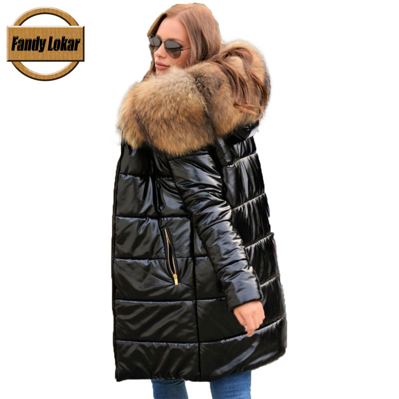 Fandy Lokar White Duck Down Waterproof Jackets Women Winter Warm Real Big Raccoon Fur Hooded Overcoat Female Down Long Coats