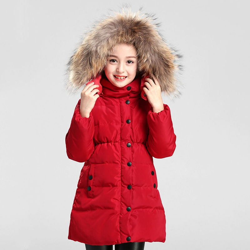 Children Down Jacket Real Raccoon Fur Girls Winter Long Coat Kids Overcoat Parkas 80% White Duck Down Parka For Boys T341 цены онлайн