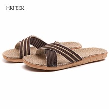 HRFEER Unisex Flax Sandal Musim Panas Bernapas Ringan Sandal Datar untuk Wanita / Pria Anti-Slip Indoor & Outdoor Sepatu Pantai