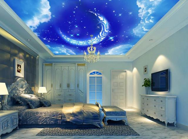 benutzerdefinierte 3d decke mond blauen himmel fototapete 3d himmel wandbilder f r schlafzimmer. Black Bedroom Furniture Sets. Home Design Ideas