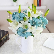 1 Pc Simulation 2-head Latex Artificial Lily for Home Garden Indoor Mini Wedding Party Bridal Bouquet Flower