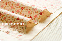 1 Meter Custard Ground With Beige Pink Floral Pure Cotton Twill Fabric For Bedding Curtain Pillow