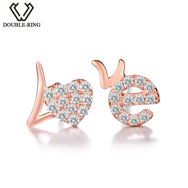 Double R Clic Created White Topaz Stud Earrings 100 Pure 925 Sterling Silver Jewelry