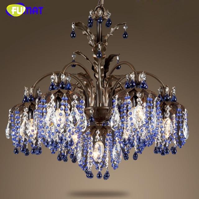 Fumat K9 Crystal Chandeliers European Creative Green Blue Suspension Light Dining Room Living Art Deco Hanging Lamp