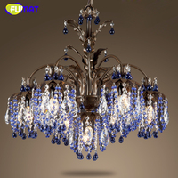 FUMAT k9 Crystal Chandeliers European Creative Green Blue Crystal Suspension Light Dining Room Living Room Art Deco Hanging Lamp