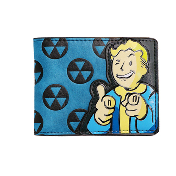 Bethesda Fallout 4 Vault Boy Applique กับลายนูน Bi พับกระเป๋าสตางค์ผู้ชายเกมบัตรเครดิตกระเป๋าสตางค์