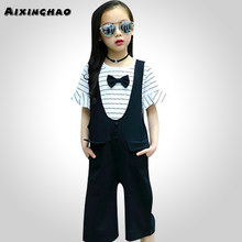 a1e418d457175 Aixinghao Girls Clothes Spring Stripe Shirt + Jumpsuit 2PCS Sets Girls  Casual Teenage Kids Girls School Clothes 8 10 12 14 Year