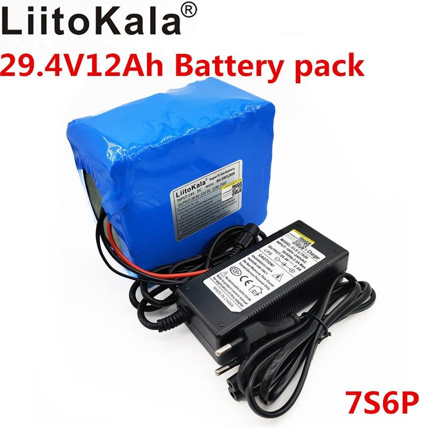 Liitokala batterie 24 v 24 v 12ah batterie au Lithium 29.v 7s6p batterie rechargeable lithium ion batterie bms s 7 s avec chargeur 2A
