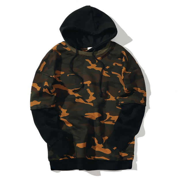 Men's Purpose Tour Fake 2 Pieces Of Camouflage Hoodie