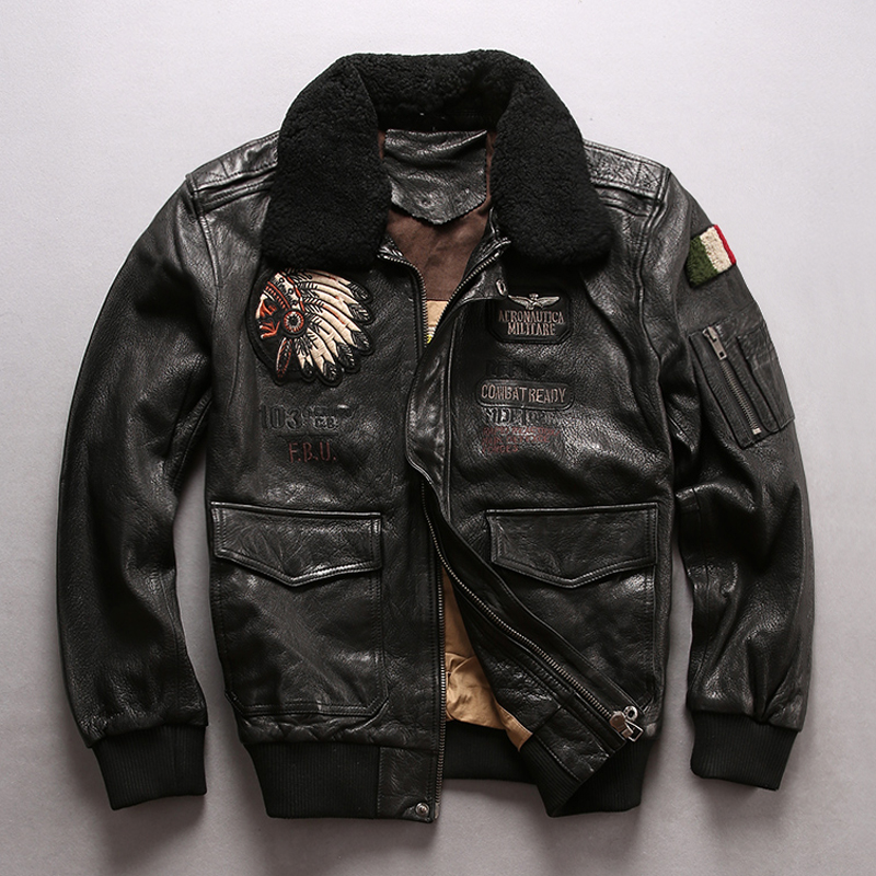 37812b89c6d Avirex fly flight jacket men s fur collar real leather jacket with chief  embroidery stylish winter bomber