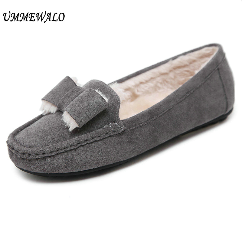UMMEWALO Flat Shoes Women Winter Warm Loafer Shoes Woman Flock Short Plush Cotton Shoes Mother Loafers