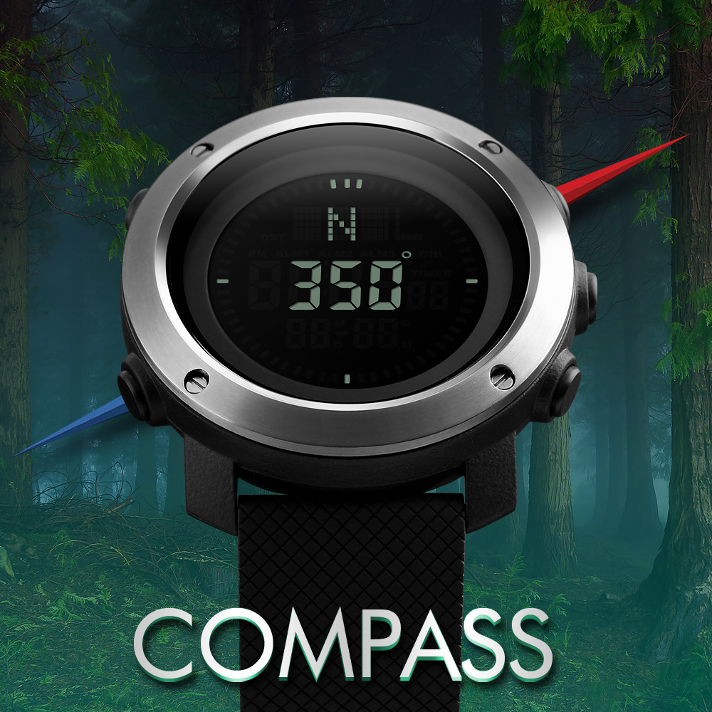 Skmei Brand Compass Men LED Digital Military Watch, 50M Dive Swim Military Men Sports Watches Fashion Compass Wristwatches