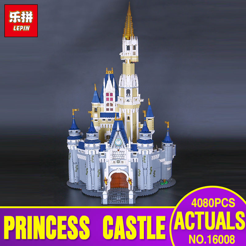 LEPIN 16008 Cinderella Princess Castle City 4080pcs Model Educational Building Block Kid Toys Gift Compatible 71040 for children hot cinderella princess castle city model building block kid educational brick toy for compatible lepins christmas children gift