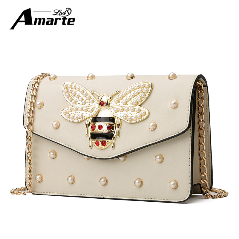 Fashion Design Bee Metal Pearl Pu Leather Chain Ladies Shoulder Bag Handbag Flap Female Crossbody Messenger Bag Bolsa Female fashion rivet diamonds candy color pu leather female chain shoulder bag handbag purse ladies crossbody mini messenger bag flap