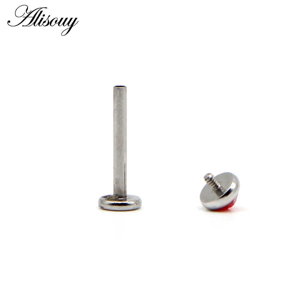 Alisouy 1pc Cartilage Stainless Steel Earring Flat Gem Crystal 16G Labret Lip Piercing Tragus Rings Helix Ear Stud Body jewelry