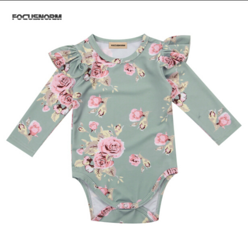 17688b4f4 FOCUSNORM Cute Infant Newborn Baby Girl Floral Print Long Sleeve ...