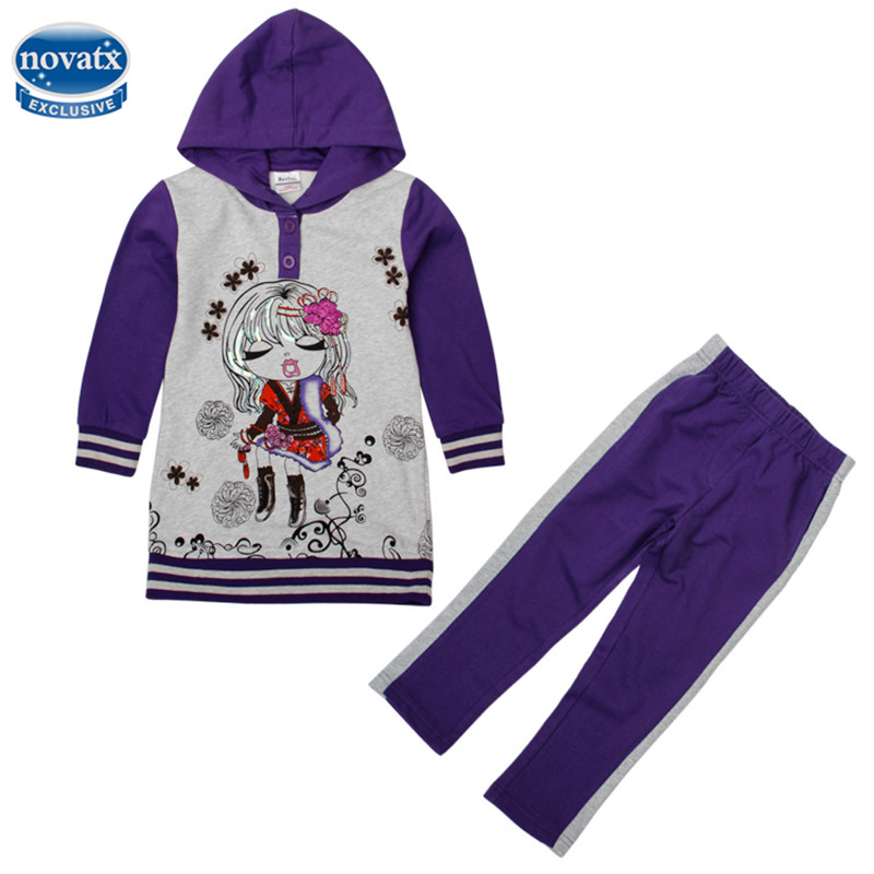 novatx FG4448 kids causal style gilr autumn winter clothes sets prited fashion girl and patten girl