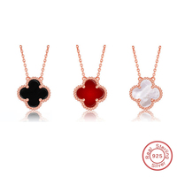 Genuine 925 Sterling Silver Clover Necklace Collares Four Colors Gifts For The New Year YTL048
