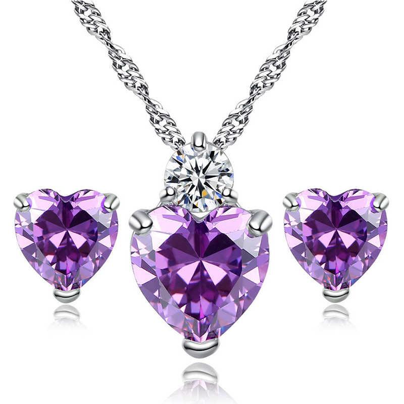 Conjuntos de joyas románticas amor corazón para mujer boda CZ cristal collar pendientes cuentas africanas joyería conjuntos Color plata Bijoux