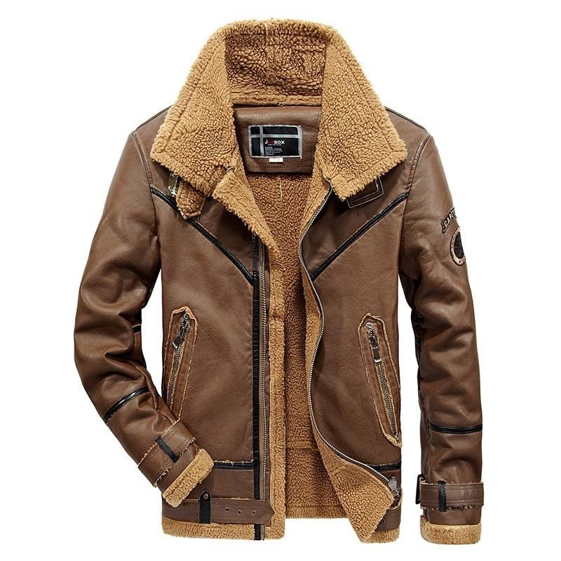 Warm Fleece Leather Jacket Men Winter Coats Faux Leather Motorcycle Biker Jackets Male Streetwear Windbreaker Mens PU Outerwear Куртка