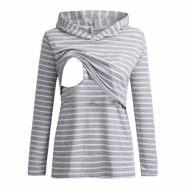 Womens Maternity Hoodie Striped Cotton Breastfeeding Nursing Jumper Tops nursing top breastfeeding maternity clothes Blouse