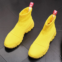 New Arrival Summer Spring Breathable Men Flats Shoes Casual Sneakers Mens Slip On High Top Sock Shoes 50