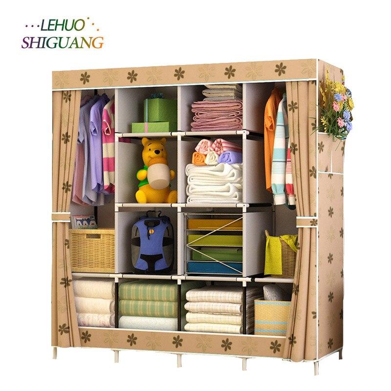 Семья шкаф нетканые ткани Сталь усиление рамки стоящий органайзер для хранения Съемная шкаф для одежды мебель