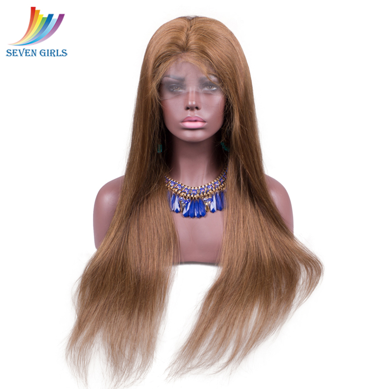 6# Color Brown Straight Pre Plucked Full Lace Human Hair Wigs With Baby Hair Peruvian Full Lace Wigs For Women Free Shipping