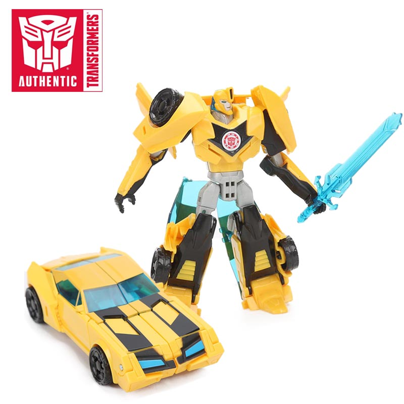 12cm Transformers Toys Robots in Disguise Warrior Class Yellow Bumblebee PVC Action Figures Changeable Collection Model Doll Toy цена 2017