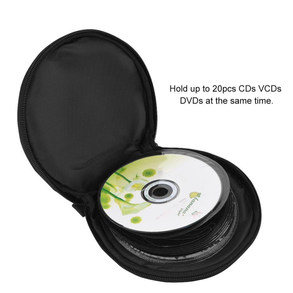 2 Colours 20 Disc Portable Zippered CD DVD DISC Storage Case Bag Organizer Holder Sheet