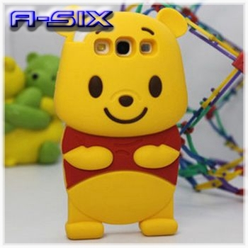 Free Shipping Lovely 3D Cartoon Yellow Winnie Bear Cell Phone Case for Samsung I9300 Galaxy S3 SIII 9300 case + gift