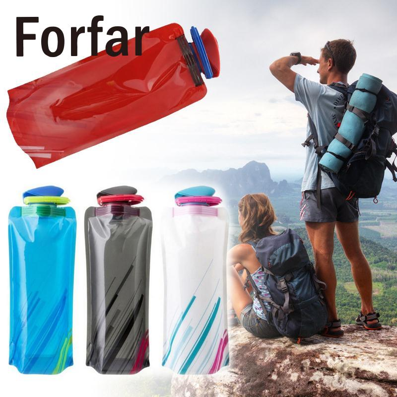 Forfar 700ML Outdoor Sport Camping Foldable Collapsible Portable Drink Water Bag Bottle