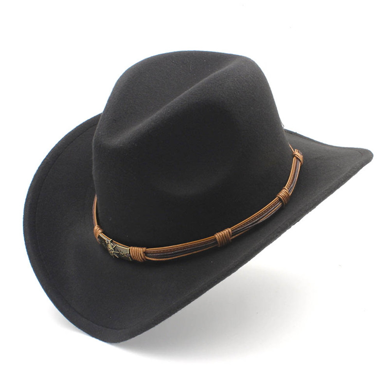 Women s Men s Wool Hollow Western Cowboy Hat With Fashion Belt Size ... 275c1146738