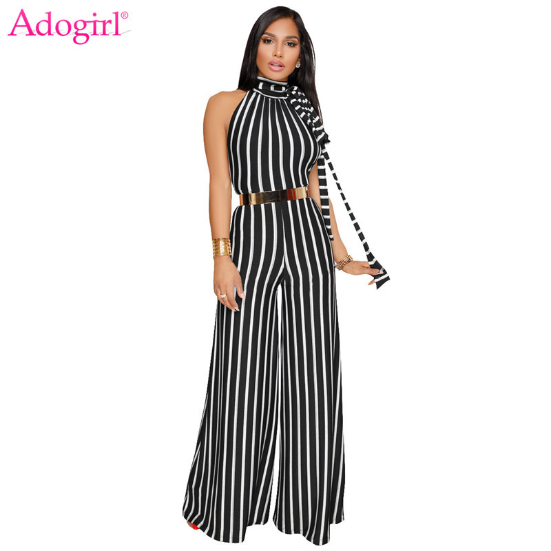 Adogirl 2018 New Striped Lace Up Halter Loose Jumpsuits Sexy Backless Wide Leg Pants Women Rompers Elegant Office Lady Overalls